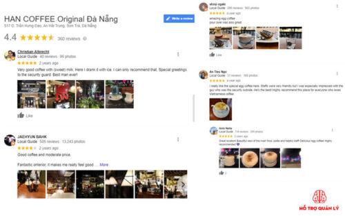 Đánh giá của khách hàng trên google map