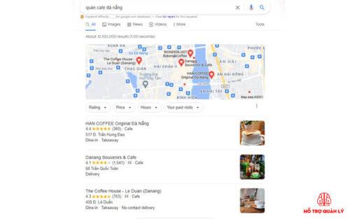 Hiển thị thứ tự tìm kiếm quán cafe trên google