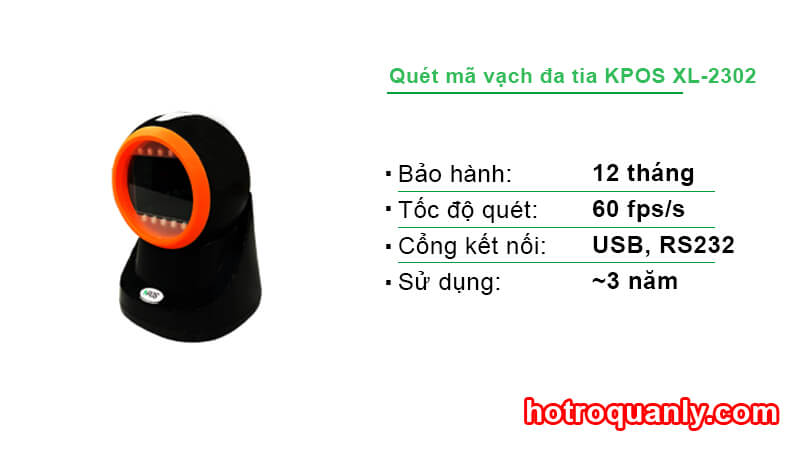 Máy quét mã vạch đa tia KPOS XL-2302