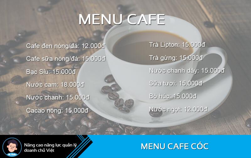 Menu quán cafe cóc