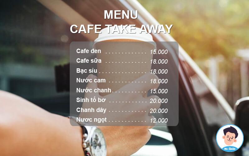 Menu quán cafe take away đơn giản