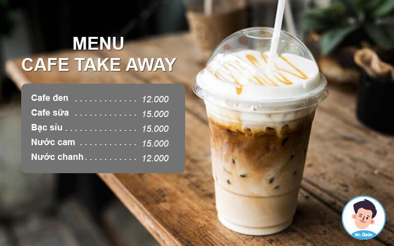 Menu xe cafe take away