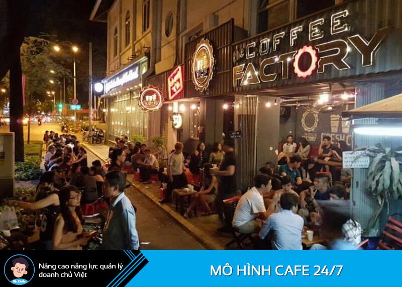 Mô hình cafe mở cửa xuyên đêm