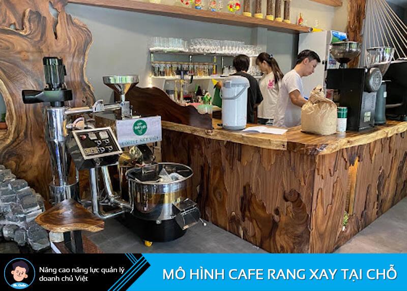 Mô hình cafe rang xay tại chỗ