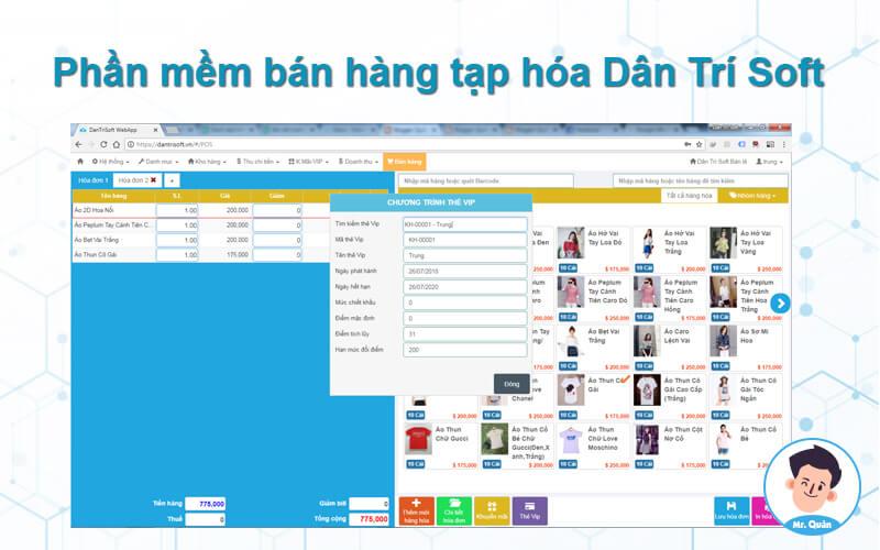 Phần mềm bán hàng tạp hóa Dân Trí Soft