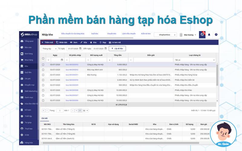 Phần mềm bán hàng tạp hóa Eshop
