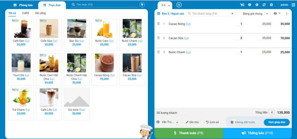 Màn hình bán hàng phần mềm cafe KiotViet