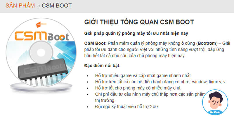 Phần mềm quản lý tiệm net CSM Boot