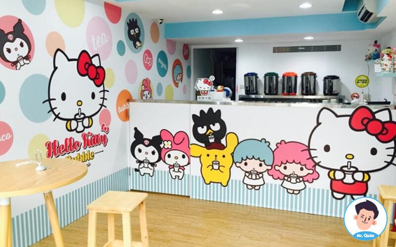 Quán trà sữa dễ thương Hello Kitty