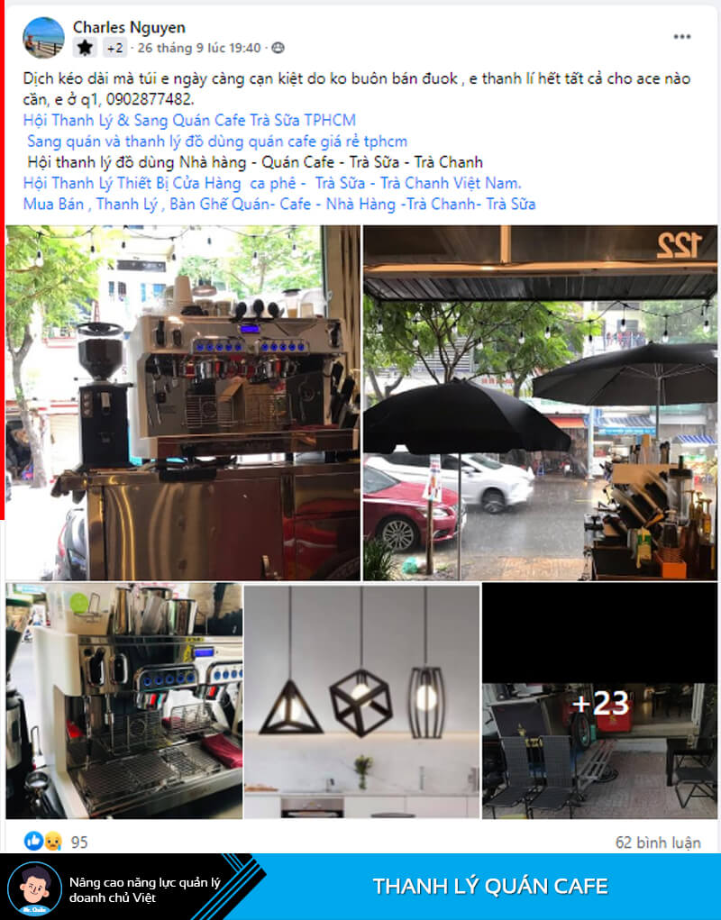 Sang quán cafe tại trung tâm quận 1