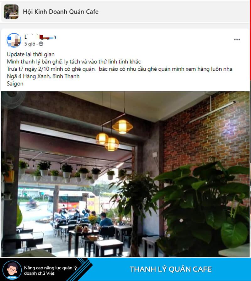 Chủ quán thanh lý quán cafe
