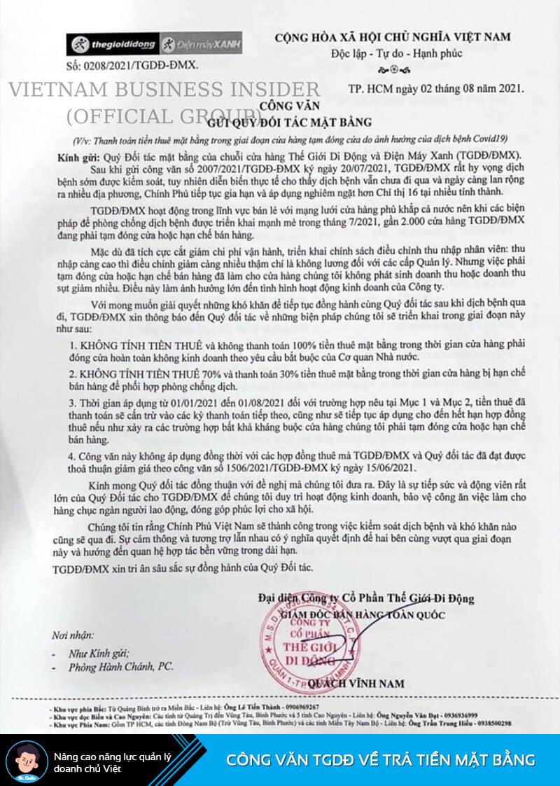 Công văn về việc không thanh toán tiền mặt bằng của TGDĐ