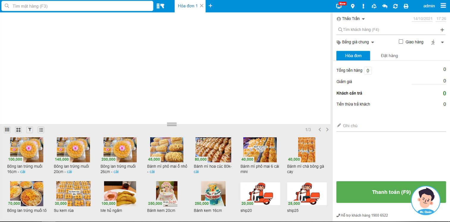 Màn hình bán hàng phần mềm quản lý tiệm bánh