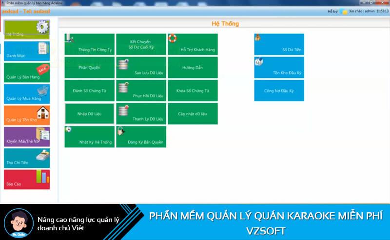 Phần mềm quản lý quán cafe miễn phí Vzsoft
